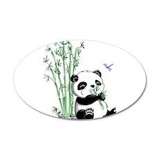 Panda Eating Bamboo 22x14 Oval Wall Peel