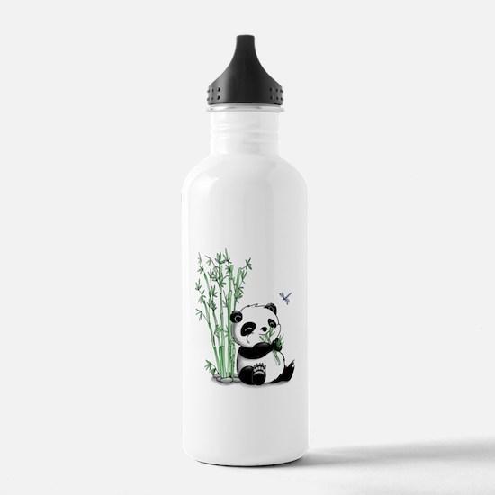Panda Eating Bamboo Water Bottle