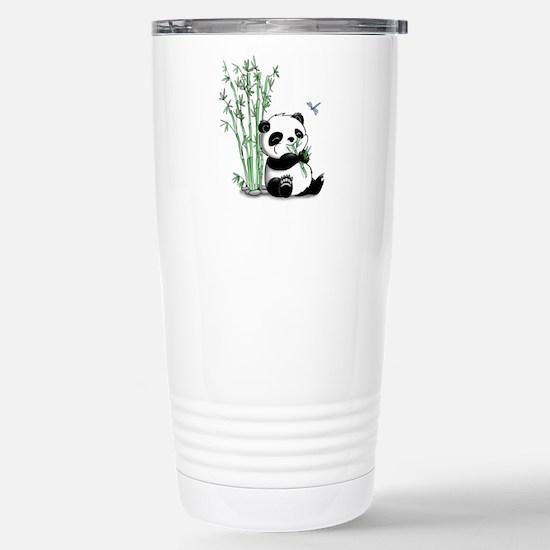 Panda Eating Bamboo Stainless Steel Travel Mug