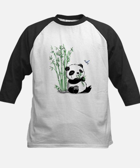 Panda Eating Bamboo Kids Baseball Jersey