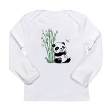 Panda Eating Bamboo Long Sleeve Infant T-Shirt