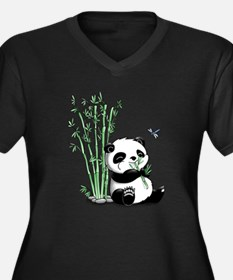 Panda Eating Bamboo Women's Plus Size V-Neck Dark