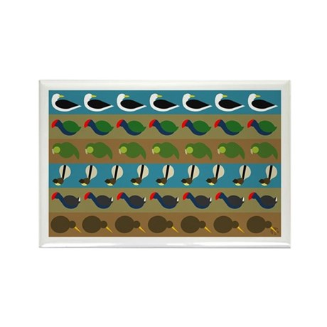 NZ bird stripes Rectangle Magnet