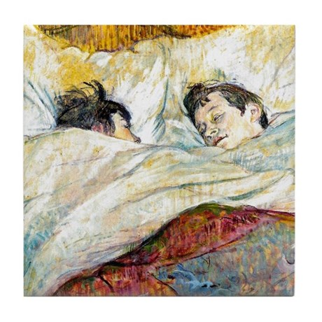 Toulouse Lautrec Bed Tile Coaster