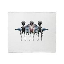 Aliens Landing Throw Blanket
