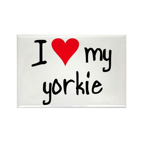 I LOVE MY Yorkie Rectangle Magnet