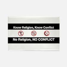 No Religion, No Conflict Rectangle Magnet