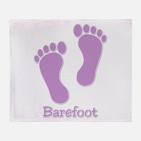 Barefoot Purple - Foot Prints Throw Blanket