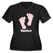 Barefoot Pink - Foot Prints Women's Plus Size V-Ne