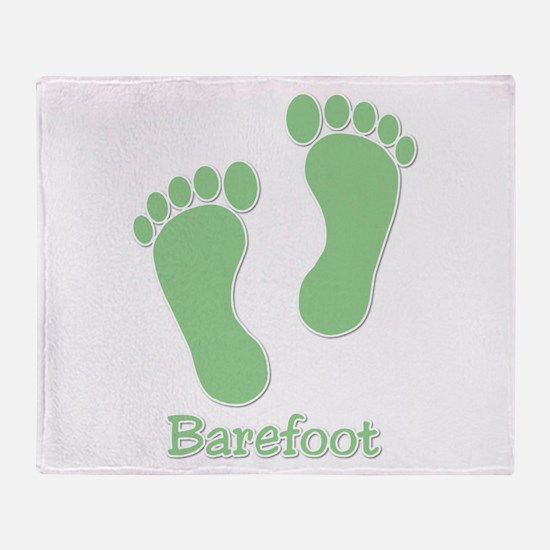 Barefoot Green - Foot Prints Throw Blanket