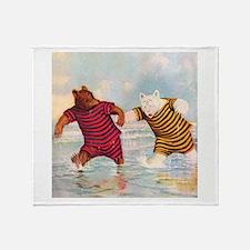 Roosevelt Bears on the Beach Throw Blanket