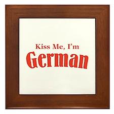Kiss Me, I'm German Framed Tile
