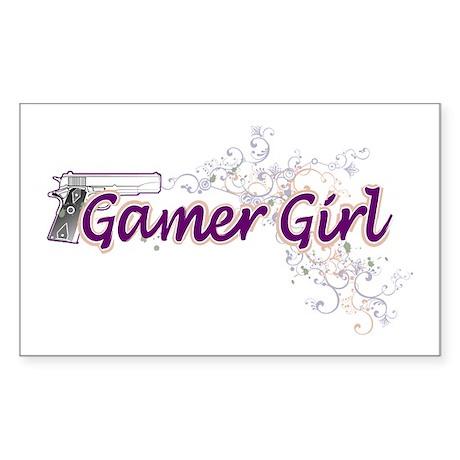 Gamer Girl -Gun & Swirls Sticker (Rectangle)