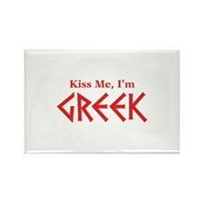 Kiss Me, I'm Greek Rectangle Magnet