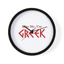 Kiss Me, I'm Greek Wall Clock