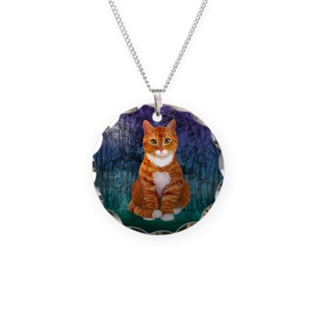 Orange Tabby Cat Necklace Circle Charm