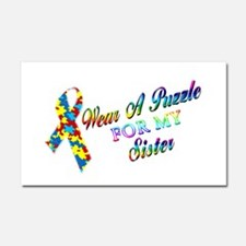 I Wear A Puzzle for my Sister Car Magnet 20 x 12