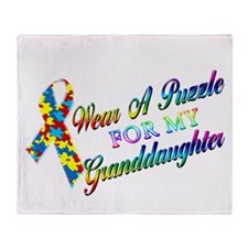 I Wear A Puzzle for my Grandd Throw Blanket