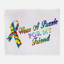 I Wear A Puzzle for my Friend Throw Blanket