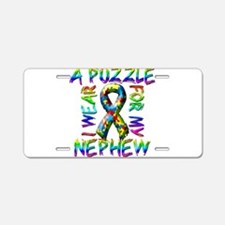I Wear A Puzzle for my Nephew Aluminum License Pla