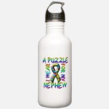 I Wear A Puzzle for my Nephew Water Bottle