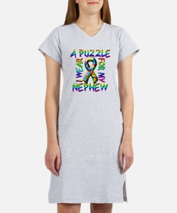 I Wear A Puzzle for my Nephew Women's Nightshirt