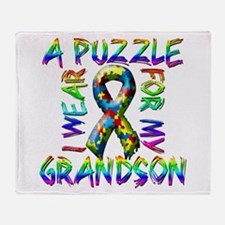 I Wear A Puzzle for my Grands Throw Blanket