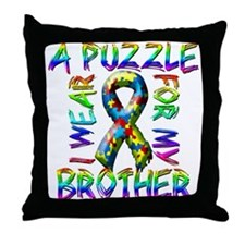 I Wear A Puzzle for my Brothe Throw Pillow