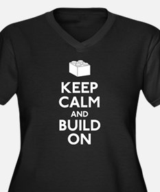 Keep Calm and Build On Women's Plus Size V-Neck Da