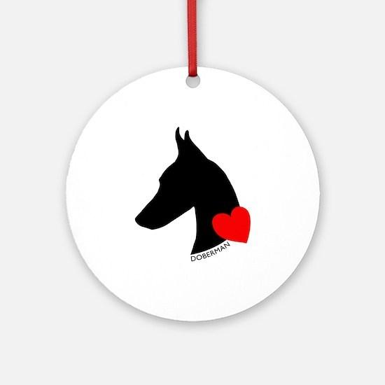 Doberman with Heart Silhouett Ornament (Round)