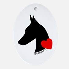 Doberman with Heart Silhouett Ornament (Oval)