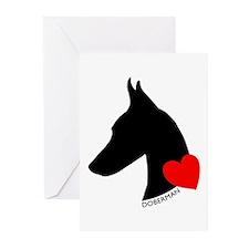Doberman with Heart Silhouett Greeting Cards (Pk o