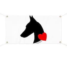Doberman with Heart Silhouett Banner