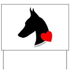 Doberman with Heart Silhouett Yard Sign