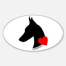 Doberman with Heart Silhouett Sticker (Oval)