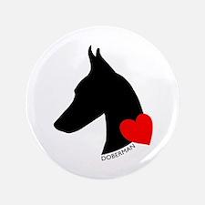 "Doberman with Heart Silhouett 3.5"" Button (100 pac"