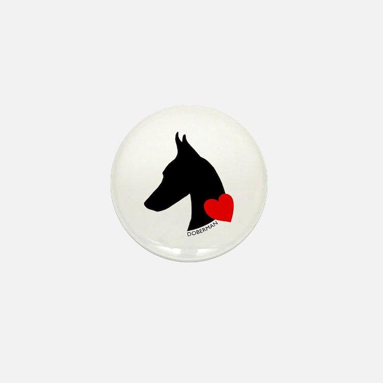 Doberman with Heart Silhouett Mini Button