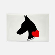 Doberman with Heart Silhouett Rectangle Magnet (10