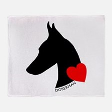 Doberman with Heart Silhouett Throw Blanket