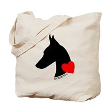 Doberman with Heart Silhouett Tote Bag