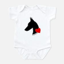 Doberman with Heart Silhouett Infant Bodysuit