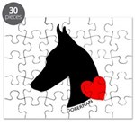 Doberman with Heart Silhouett Puzzle
