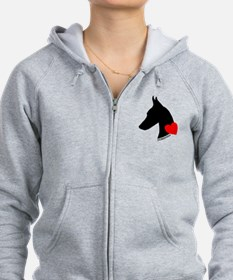 Doberman with Heart Silhouett Zip Hoodie