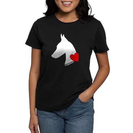Doberman with Heart Silhouett Women's Dark T-Shirt