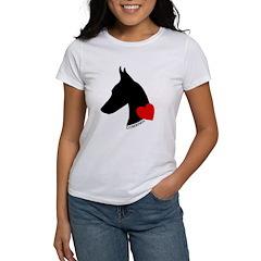 Doberman with Heart Silhouett Women's T-Shirt