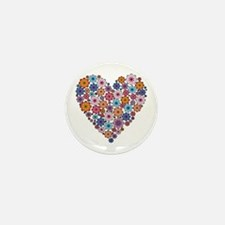Flower hearts ~ Muted colors Mini Button (10 pack)