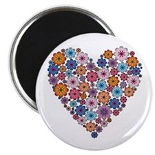 "Flower hearts ~ Muted colors 2.25"" Magnet (10 pack"