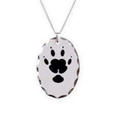 Guinea Pig Paw Print Necklace Oval Charm