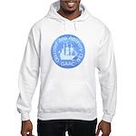 "Hooded Sweatshirt, white or grey, 9"" logo"