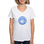 """Women's V-Neck T-Shirt, 8"""" logo"""